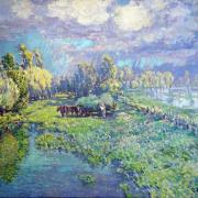 Hay wagon near the river Seine, Giverny - Vaclav Radimsky